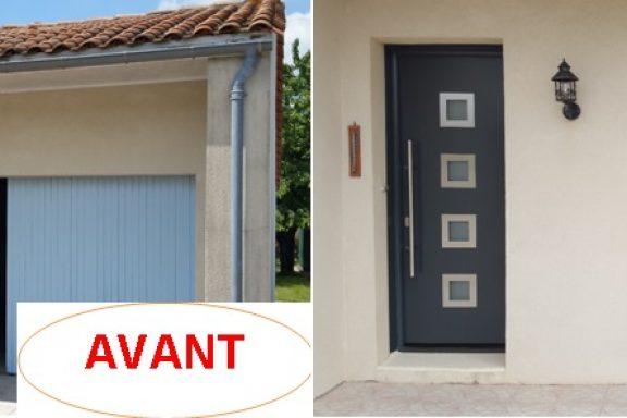 Chantier Porte d'entrée et garage Hormann Avant/Après